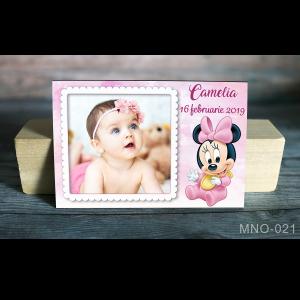 magnet marturie botez cu foto si Minnie bebelus