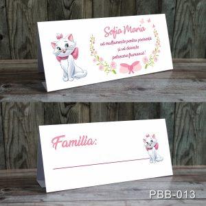 plicuri bani carduri masa botez pisica Marie