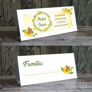 plicuri bani carduri masa botez floarea soarelui