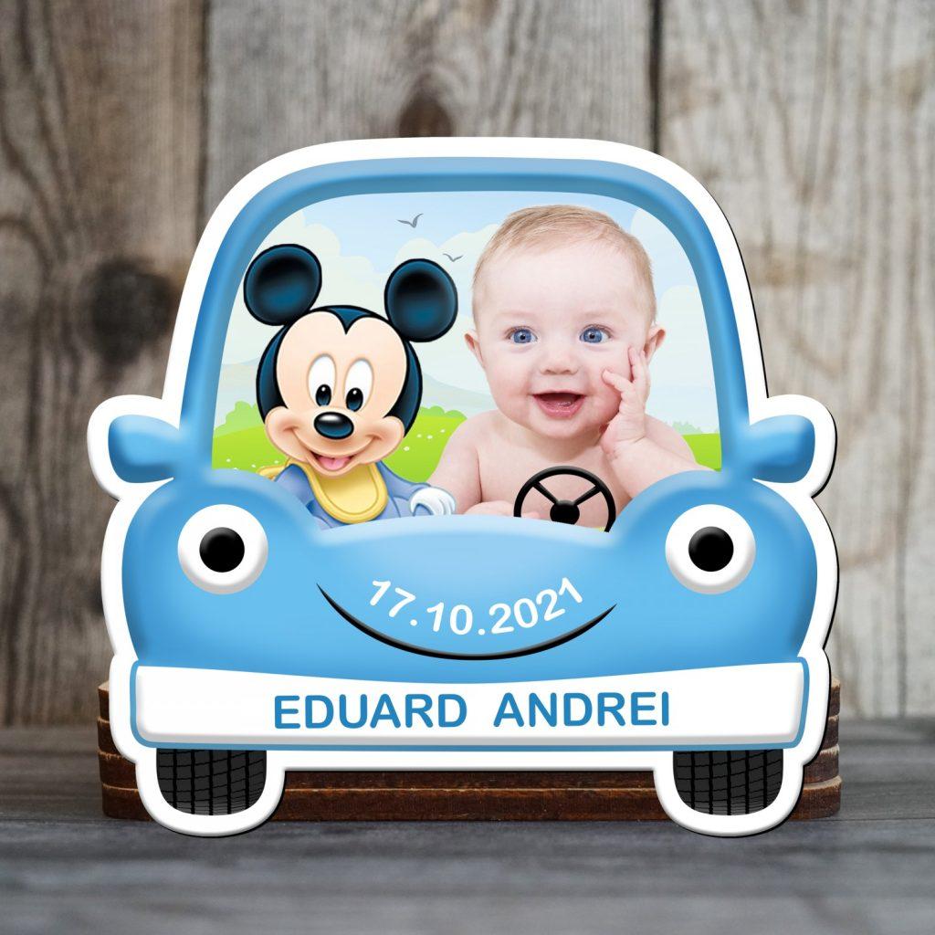 marturii magnetice masina albastra cu Mickey Mouse