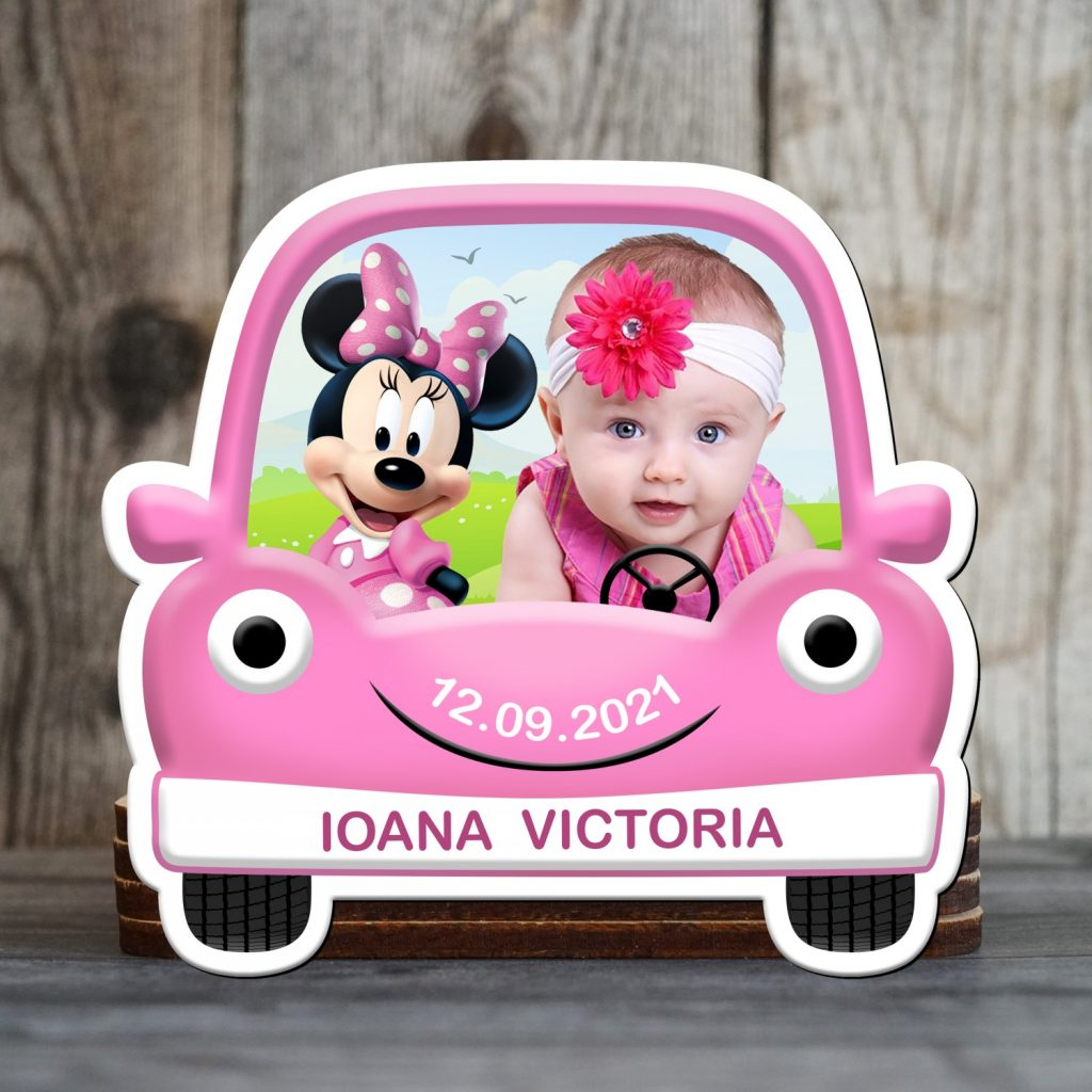 magneti botez Minnie Mouse in masina roz